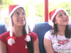 Adorable latina babe Juliana gets filmed in the bus