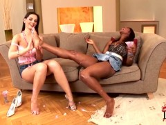 Babes Eve Angel and Jasmine in foot fetish session