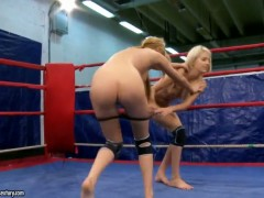 Blonde Antonya with massive jugs and Blanche have a great time stimulating each others snatch