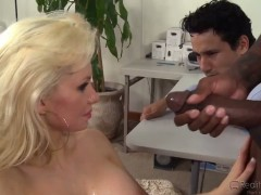 Blonde honey Devon Lee gets sprayed by Nathan Threat