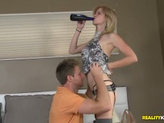Blonde puts her soft lips on hard ram rod