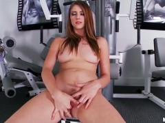 Blonde Shae Snow gives a closeup view of her wet hole as she masturbates