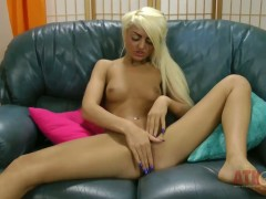 Dirty blonde Chloe Westland plays with her sex toys