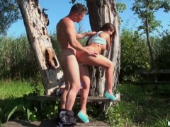 Hot ass brunette Debbie White gets nailed outdoor