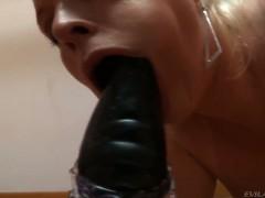 Hot pornstars challeneg each other at deepthroating