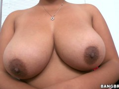 Latina brunette Reina is playing with her big boobs