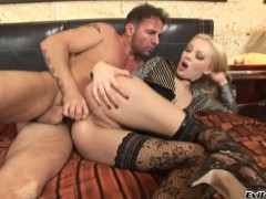 Logan gets an ass slamming in anal sex action with David Perry after she gives throat job