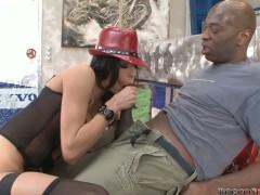 Seducing Aliz hot oral session with black Rocco