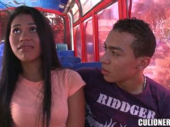 Sexy asian babe Carolina is being seduced in a bus