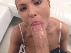 Amy A gets the mouth fuck of her dreams with hard cocked fuck buddy