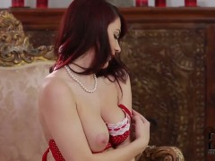 Arousing redhead Roxy Mendez teases in living room
