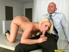 Blonde Annika Albrite with big ass gets her mouth fucked to death by Johnny Sins