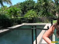 Cute girl Janet sucks a wang by the pool