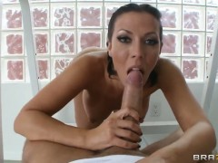 Keiran Lee explores the depth of flirtatious Rachel Starrs throat with his meat pole