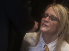 Nasty blonde schoolgirl Jessica Drake gets facial