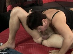 Redhead Lawanda gets heavily fucked in her mouth by lucky man
