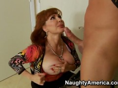 Wild milf redhead Sexy Vanessa is banging a hue dick