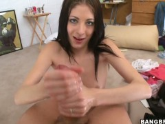 Young Kenna Kane presents an excellent handjob before oiling my dick